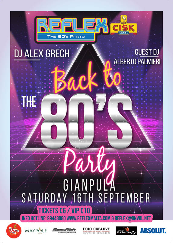 Reflex 80's Party - 16th September 2017 at Gianpula