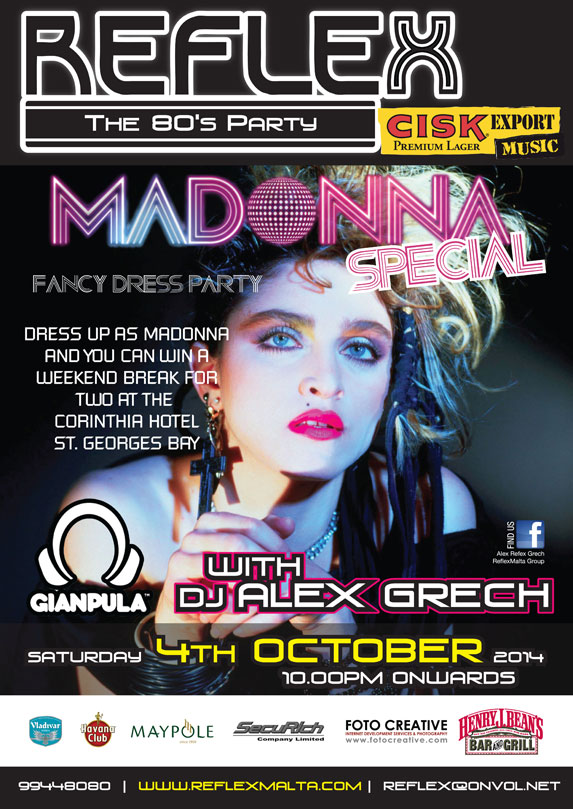 Reflex Party Madonna Special - 4th October 2014